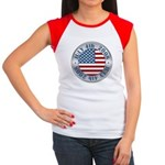 4th of July Souvenir Flag Women's Cap Sleeve T-Shi