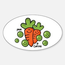 Peas And Carrots Oval Stickers
