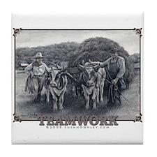 Teamwork - Oxen & Humans Tile Coaster