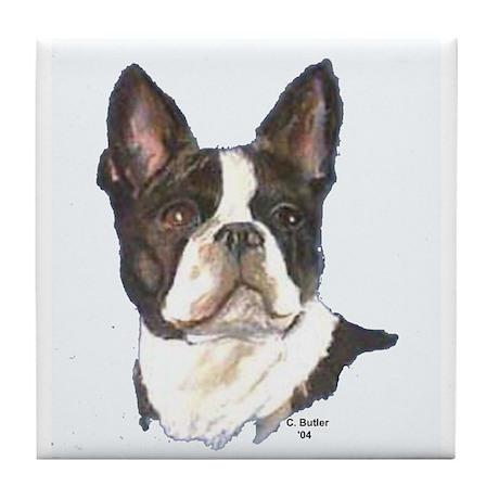 Boston Terrier (white) Tile Coaster