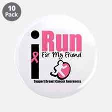 """I Run For Breast Cancer 3.5"""" Button (10 pack)"""