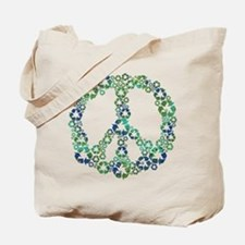 Blue Recycle Peace Tote Bag