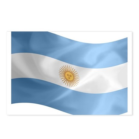 Argentina Flag Wavy Postcards (Package of 8)