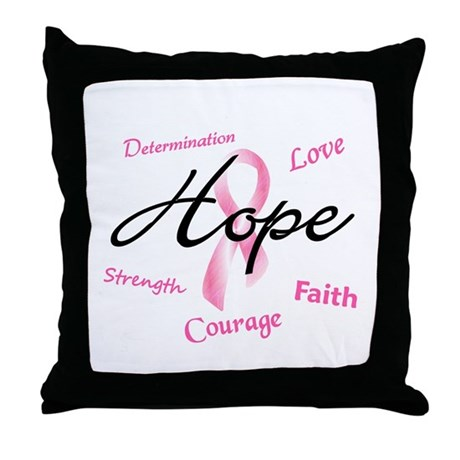 Courage Faith Love Hope 5 (Pink) Throw Pillow