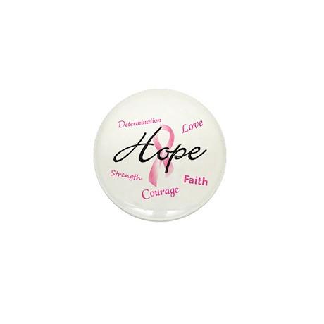 Courage Faith Love Hope 5 (Pink) Mini Button (10 p