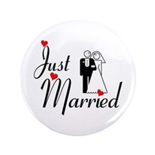 """Just Married 3.5"""" Button"""