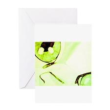 Green Beige Cat Greeting Card
