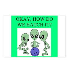 alien bowling joke Postcards (Package of 8)