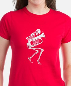 Skeleton Tuba Player Tee