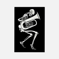 Skeleton Tuba Player Rectangle Magnet