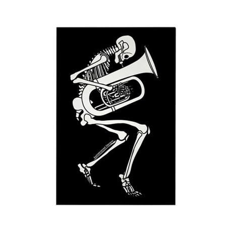 Skeleton Tuba Player Rectangle Magnet (10 pack)
