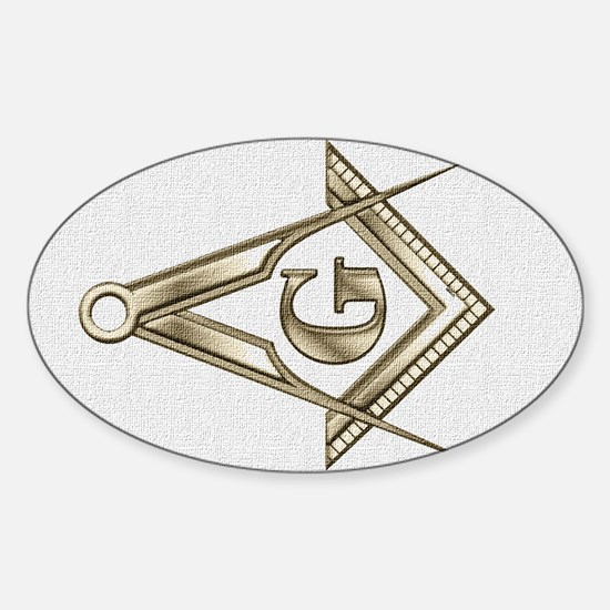 Tinted Square and Compasses Oval Decal