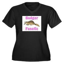 Badger Fanatic Women's Plus Size V-Neck Dark T-Shi