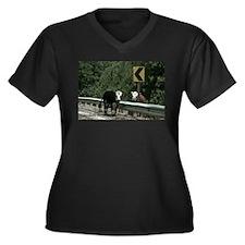 Cows in the Road Women's Plus Size V-Neck Dark T-S