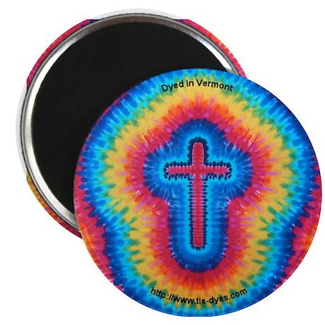 Red Rainbow Cross Tie-dye Art Magnet