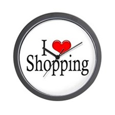 I Heart Shopping Wall Clock