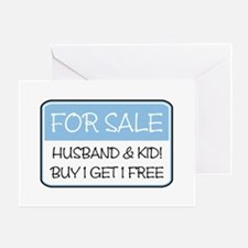 4SALE HUSB/KID (blue) Greeting Card
