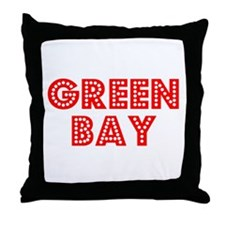 Retro Green Bay (Red) Throw Pillow
