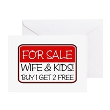 FOR SALE:WIFE/KIDS! (red) Greeting Card