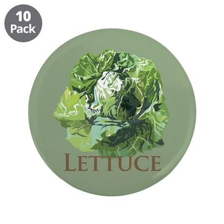 """Leafy Lettuce 3.5"""" Button (10 pack)"""