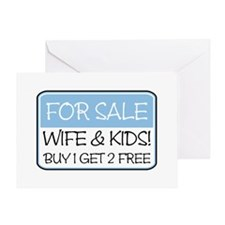 FOR SALE: WIFE/KIDS! (blue) Greeting Card