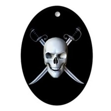 Pirate Skull Flag Keepsake (Oval)