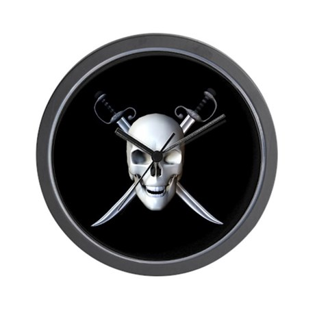 Pirate Skull Flag Wall Clock