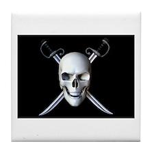 Pirate Skull Flag Tile Coaster
