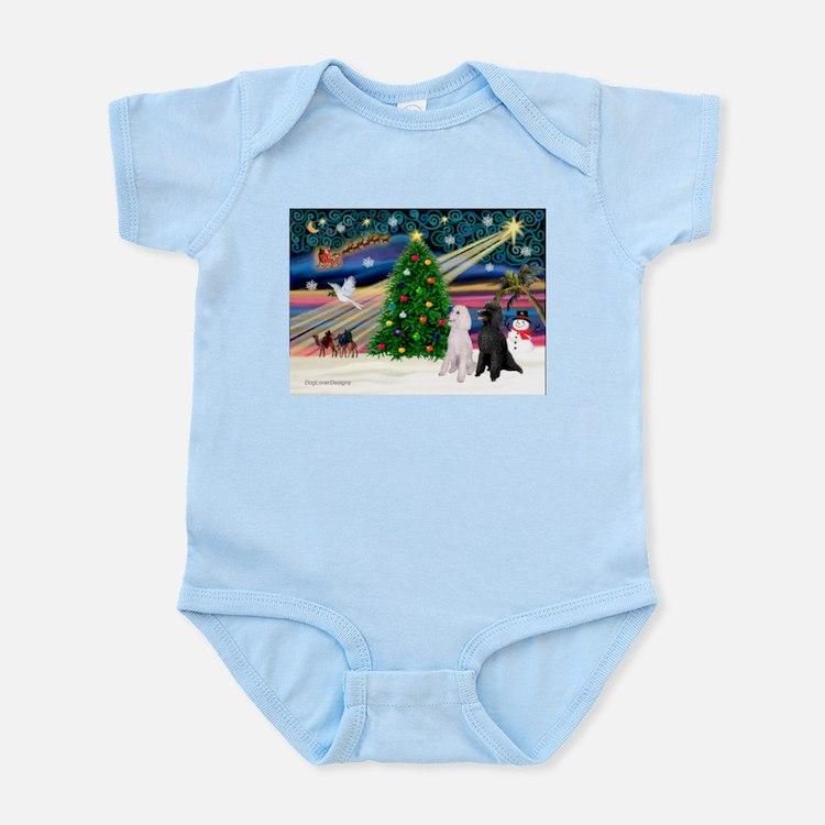 XmasMagic/2 Poodles (st) Infant Bodysuit