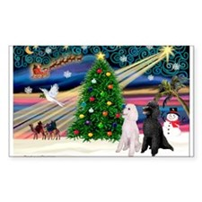 XmasMagic/2 Poodles (st) Rectangle Decal