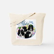Black & White Akita Dogs Tote Bag