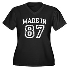 Made in 87 Women's Plus Size V-Neck Dark T-Shirt
