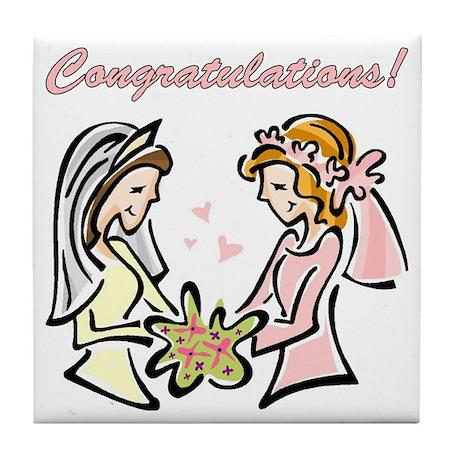 Congratulations Gay Wedding D Tile Coaster