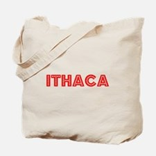 Retro Ithaca (Red) Tote Bag