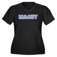 Retro Macey (Blue) Women's Plus Size V-Neck Dark T