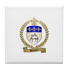 BELIVEAU Family Crest Tile Coaster
