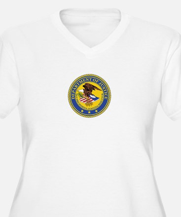 DEPARTMENT-OF-JUSTICE-SEAL Womes Plus-Size V-Neck
