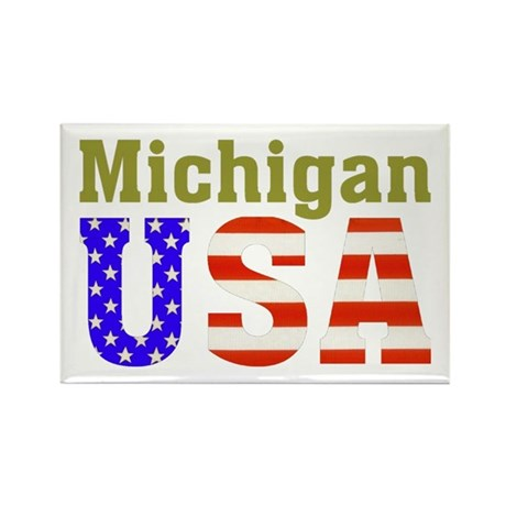 Michigan USA Rectangle Magnet