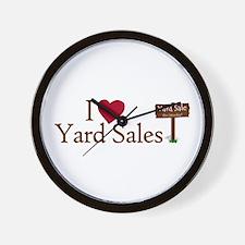 I Love Yard Sales Wall Clock