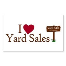 I Love Yard Sales Rectangle Decal