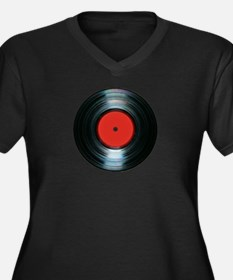 vinyl Women's Plus Size V-Neck Dark T-Shirt