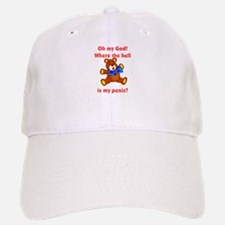 Scared Teddy Bear Baseball Baseball Cap