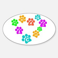 Colorful paws Canhardly Oval Decal