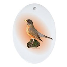 Proud Robin Oval Ornament
