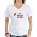 LEAF NO STONE UNTURNED Women's V-Neck T-Shirt
