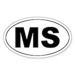 MS (Mississippi) Oval Sticker