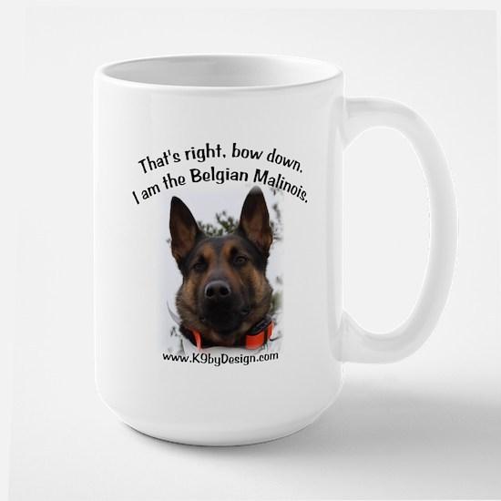 Bow Down Belgian Malinois Large Mug