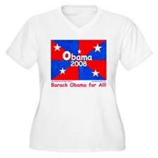 Obama 2008 Red&Blue Women's + Size V-Neck T-Sh