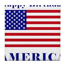 Happy Birthday America Tile Coaster