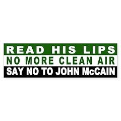 No More Clean Air, No John McCain Bumper Sticker